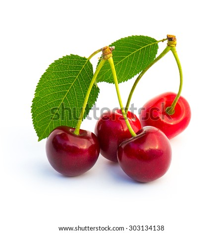Sweet cherrys with leaf