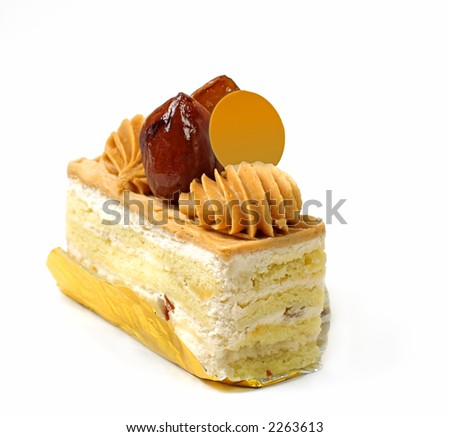 Sweet chestnut cake over white background with copyspace for add.