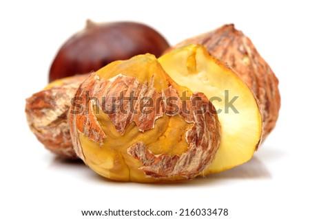 Sweet chestnut on white background - stock photo