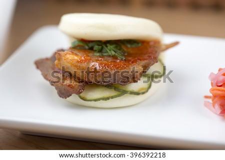 Sweet Chili Pork Belly Steam Bun          - stock photo