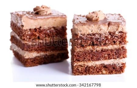 Sweet chocolate cakes isolated on white background - stock photo