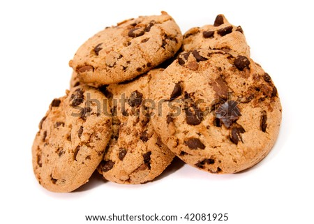 Sweet chocolate cookies isolated on a white background - stock photo