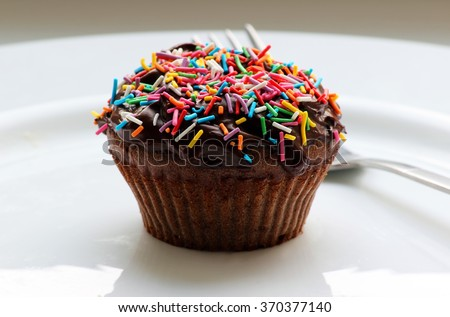 Sweet chocolate cupcake. Close up of chocolate cupcake. Muffins. Fresh delicious homemade cupcakes. Chocolate cupcakes with chocolate frosting on top with sugar sprinkles. Shallow depth of field.
