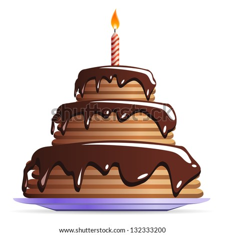 Sweet Chocolate or birthday cake with candle - icon isolated on white background