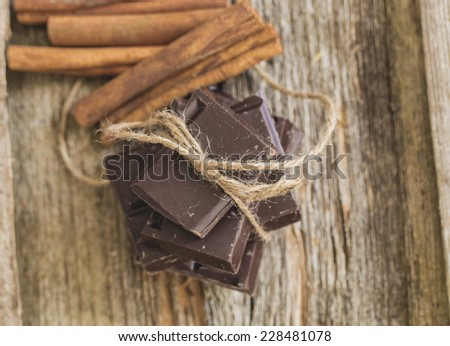 Sweet chocolate with cinnamon on the table
