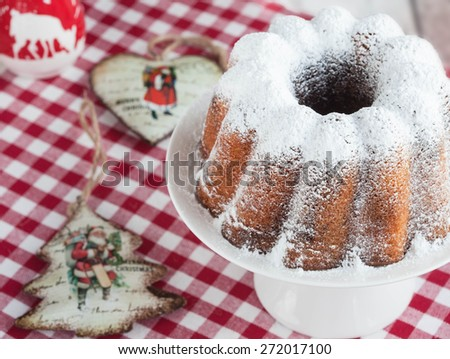 Sweet Christmas cake, celective focus - stock photo