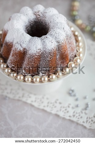Sweet Christmas cake with pearls, selective focus - stock photo