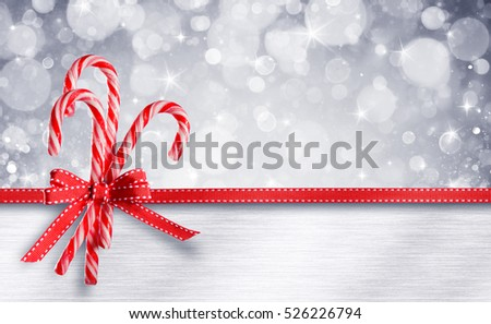 Sweet Christmas Card - Candy Canes With Ribbon