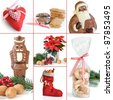 Sweet Christmas composition with heart tree decoration, Lebkuchen, Spekulatius, Chocolate Santa, Poinsettia, filled stocking, walnuts and a bag of Vanillekipferl biscuits - stock photo
