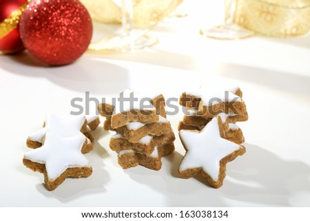 sweet christmas cookies  white background - stock photo