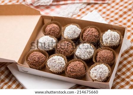 Sweet coconut brownies box - stock photo