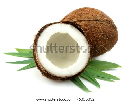 Sweet coconut with leaf closeup