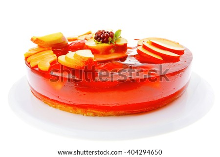 sweet cold red jelly pie with peach and nectarine - stock photo