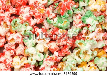 sweet colorful popcorn as background - stock photo