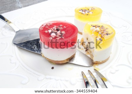 Sweet colourful fruit panna cotta with chocolate decoration
