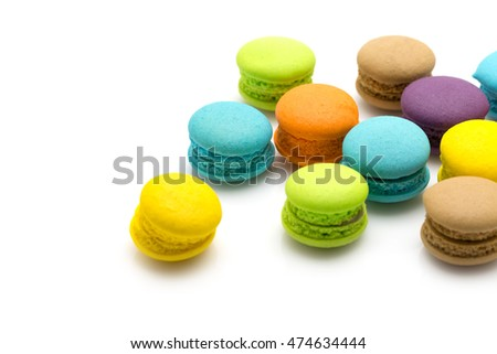 Sweet colourful  macaroons isolated on white background