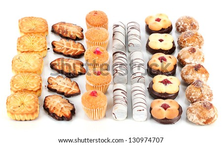Sweet cookies isolated on white