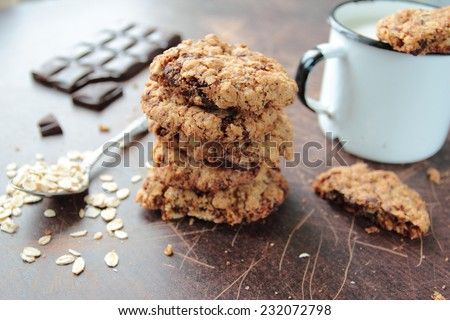 Sweet cookies with chocolate chip and raisin - stock photo