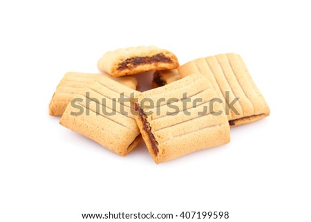 Sweet cookies with jam isolated on white background. - stock photo