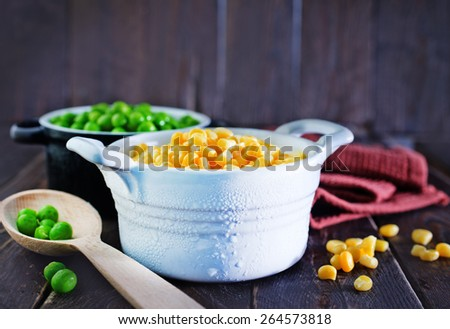sweet corn and green peas in bowl - stock photo