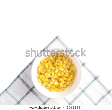 sweet corn in bowl view from above - stock photo