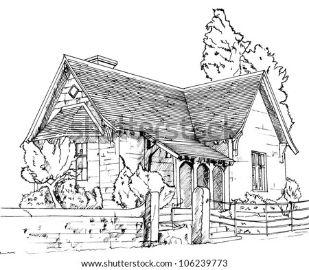 Cottage Drawing Stock Images Royalty Free Images Vectors