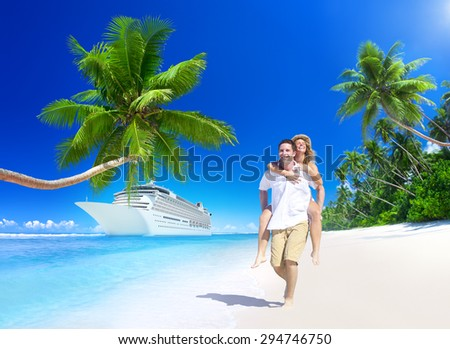 Sweet Couple Relax Summer Beach Concept - stock photo