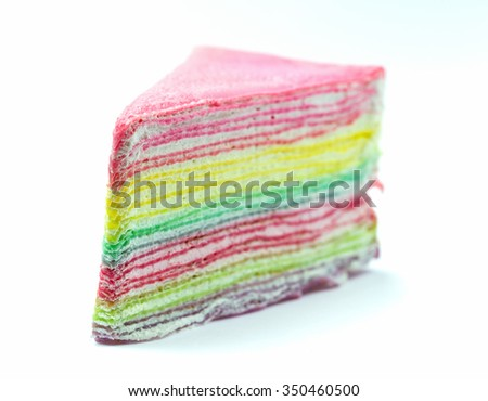 sweet crepe cake on white background