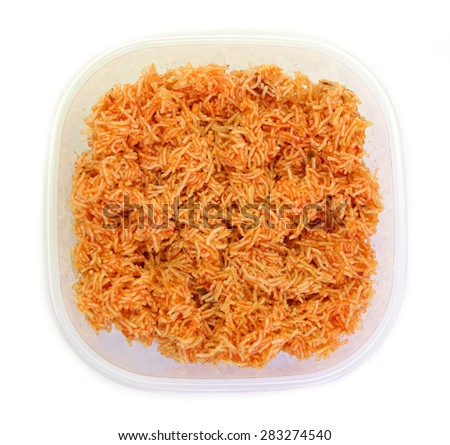 Sweet crispy noodles packed in plastic box isolated on white background - stock photo