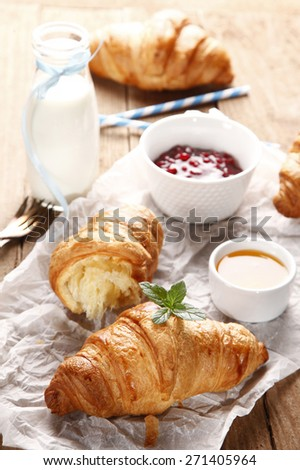 Sweet croissant with jam and honey
