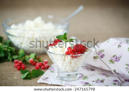sweet curd in a bowl with berries