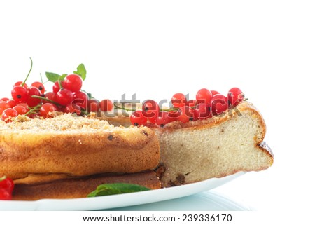 sweet curd pudding with berries on a white background - stock photo