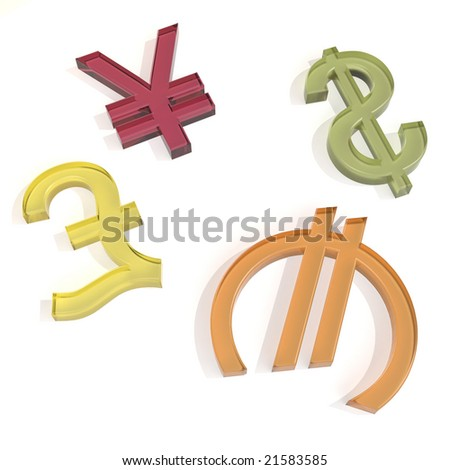 Sweet currency symbols on the white background