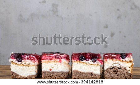 Sweet dessert cakes and fruit cakes. - stock photo