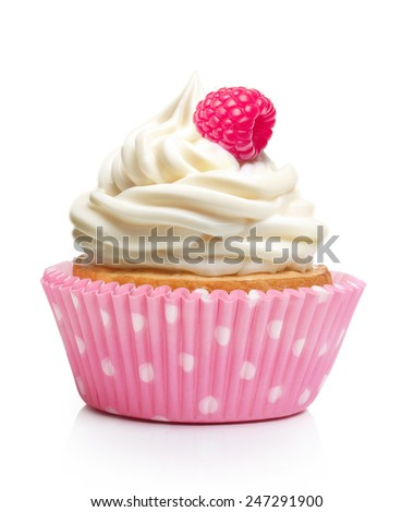 Sweet dessert, cupcake  with butter cream and raspberry isolated on white background. - stock photo