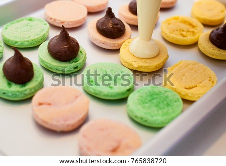 Sweet dessert french macarons ,ready for fill, handmade , colorful delicious macaroon