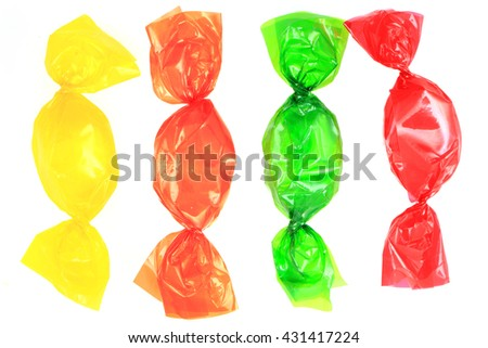 sweet different bonbon isolated on the white background - stock photo