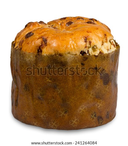 Sweet dough panettone made from wheat flour, yeast and butter with milk chocolate chips - stock photo