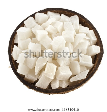 sweet dried cubes of coconut fruit  isolated on white background - stock photo