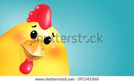 Sweet Easter fun chick cartoon portrait on yellow background. Easter card. - stock photo