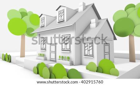 Sweet family house  - stock photo