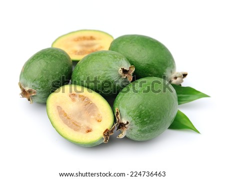 Sweet feijoa fruits close up on white background .Tropical fruits