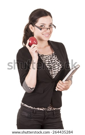 sweet female teacher holding red apple isolated on white - stock photo