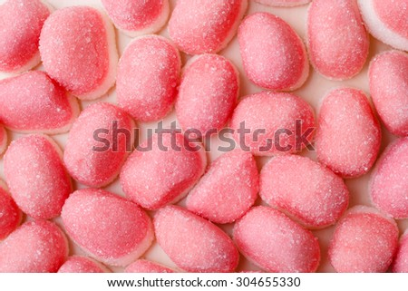 Sweet food candy background. Pink jellies or marshmallows wallpaper backdrop macro. - stock photo