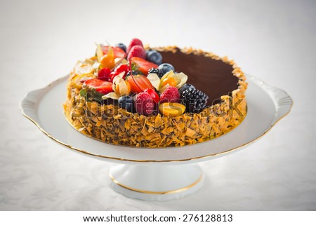 Sweet food dessert, cake on plate, white background
