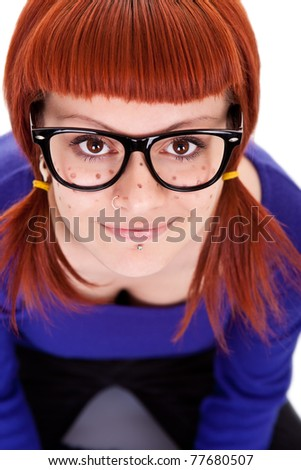 sweet freckles girl with red hair, close up, isolated on white background