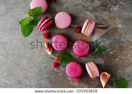 sweet french macaroons, top view - stock photo