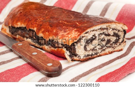 Sweet fresh homemade roll with poppy seeds - stock photo