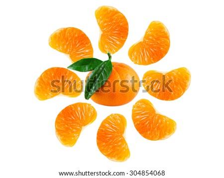 Sweet fresh juicy mandarin sun pattern on a white background - stock photo
