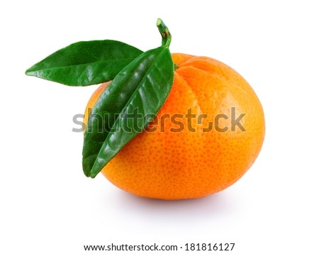 Sweet fresh juicy mandarin with green leaves isolated on a white background